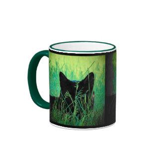 Black Cat in the grass Ringer Mug