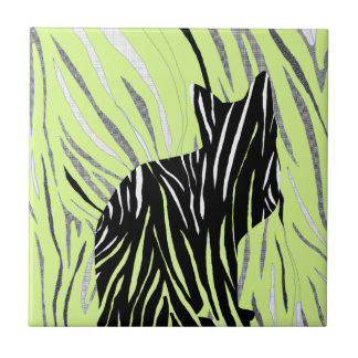 Black Cat in the Grass Tile