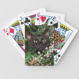Black cat in wildflowers bicycle poker deck