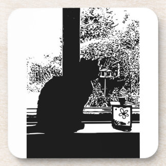 Black cat in window coaster