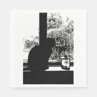 Black cat in window disposable serviette