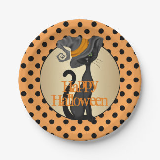 Black Cat in Witch Hat Halloween Party 7 Inch Paper Plate