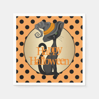 Black Cat in Witch Hat Happy Halloween Paper Napkin