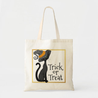 Black Cat in Witch Hat Trick or Treat Budget Tote Bag