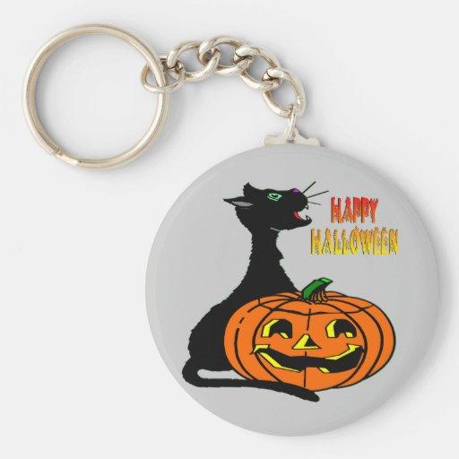 Black Cat & Jack-O-Lantern Keychain