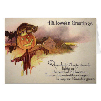 Black Cat Jack O' Lantern Pumpkin Bat Owl Card