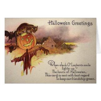 Black Cat Jack O' Lantern Pumpkin Bat Owl Greeting Card