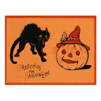 Black Cat Jack O Lantern Pumpkin Witch's Hat Postcard