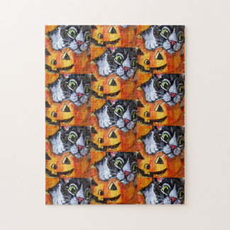 Black Cat & Jack O'Lantern Halloween Jigsaw Puzzle