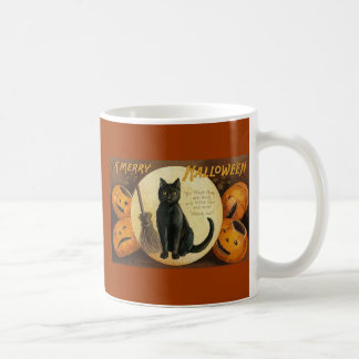 black cat & jackolanterns basic white mug