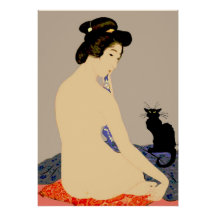 black cat japanese nude print poster r773ec3b5e8964a5b99727a3f4e3a0382 22rr 216 sexy nude anime girl