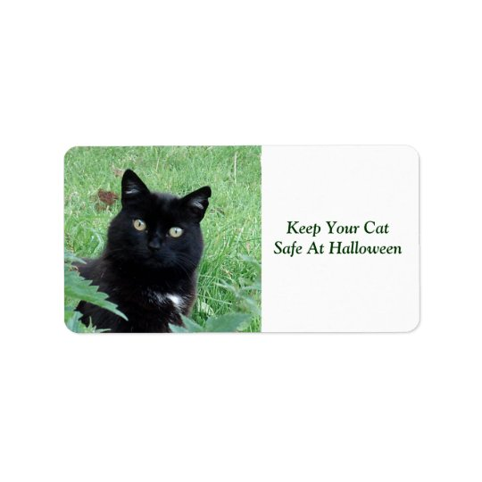 Black Cat Keep Your Cat Safe  At Halloween Label