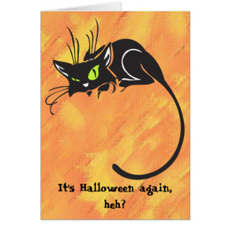Black Cat Kids Halloween Card