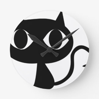 BLACK CAT KITTEN ROUND CLOCK