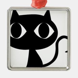 BLACK CAT KITTEN Silver-Colored SQUARE DECORATION
