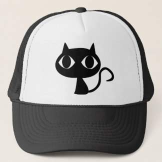 BLACK CAT KITTEN TRUCKER HAT