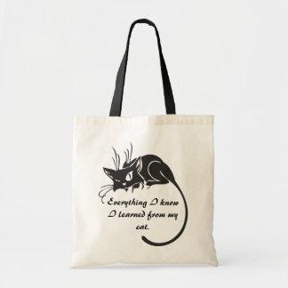 Black Cat Knowledge Tote Bag