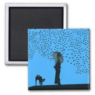 Black Cat ,Lady & Birds Magnet