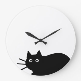 Black Cat Large Clock
