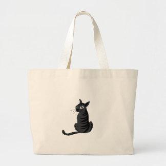 Black cat large tote bag