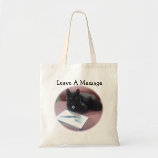 Black Cat Leave A Message Budget Tote Bag