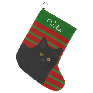 Black Cat Long Hair Personalized Large Christmas Stocking