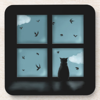 Black Cat Looking Out Window At Heaven Drink Coaster