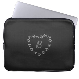 Black Cat Love Paw Heart Monogram Laptop Sleeve