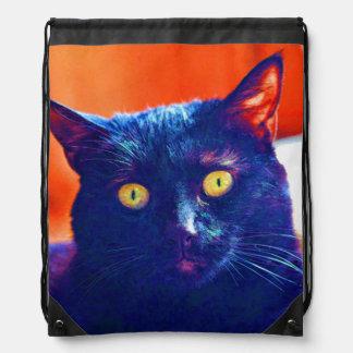 Black Cat Lucky Feline Cat Art Drawstring Bag