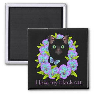 Black Cat Magic Good Luck Magnet - cute & colorful
