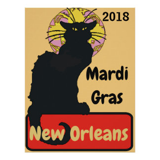 Black Cat, Mardi Gras, edit text Poster