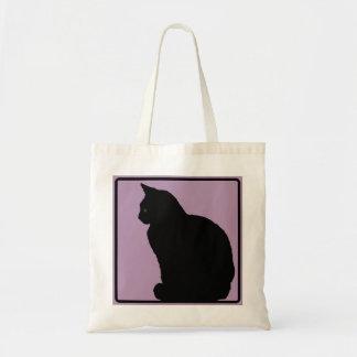 Black Cat Mauve Budget Tote Bag