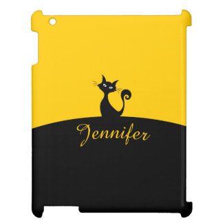 Black Cat Minimal Art, Your Name Case For The iPad