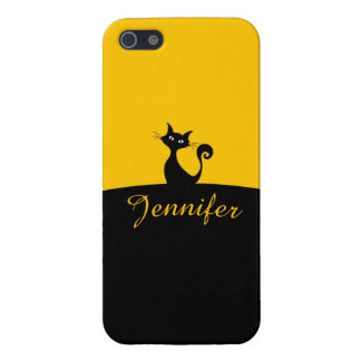 Black Cat Minimal Art, Your Name iPhone 5 Covers
