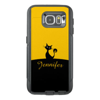 Black Cat Minimal Art, Your Name OtterBox Samsung Galaxy S6 Case