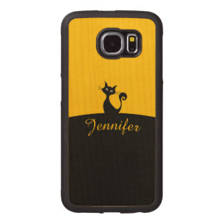 Black Cat Minimal Art, Your Name Wood Phone Case