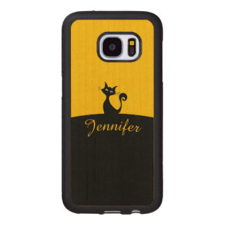 Black Cat Minimal Art, Your Name Wood Samsung Galaxy S7 Case