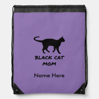 Black Cat Mom Drawstring Bag