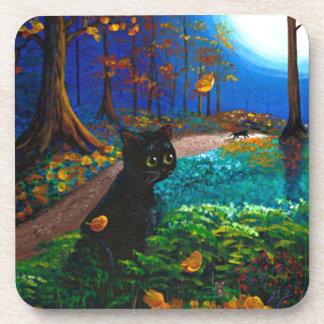 Black Cat Moon Fall Art Creationarts Drink Coasters