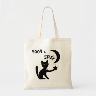 BLACK CAT MOON & STARS TOTE BAG