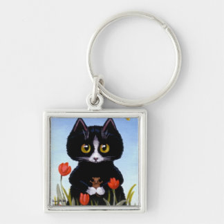 Black Cat Mouse Tulip Key Chain by Creationarts