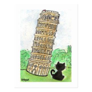 Black cat Noir Chat Leaning Tower of Pisa Art Postcard