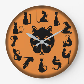 BLACK CAT NUMBERS ORANGE by Slipperywindow Large Clock