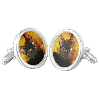 BLACK CAT OLIVE CUFF LINKS