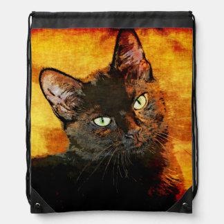 BLACK CAT OLIVE DRAWSTRING BAG