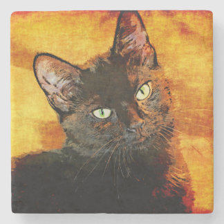 BLACK CAT OLIVE STONE COASTER