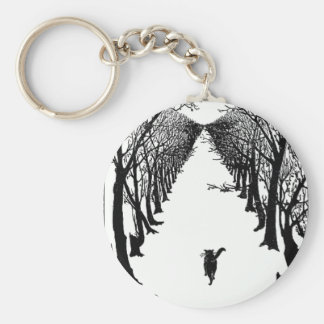 Black Cat on a Lonely Trail Artwork Key Ring
