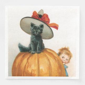 Black Cat On A Pumpkin Disposable Serviettes