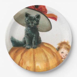 Black Cat On A Pumpkin Paper Plate