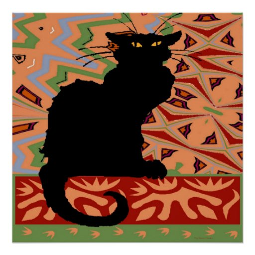 Black Cat on Abstract Wallpaper Posters